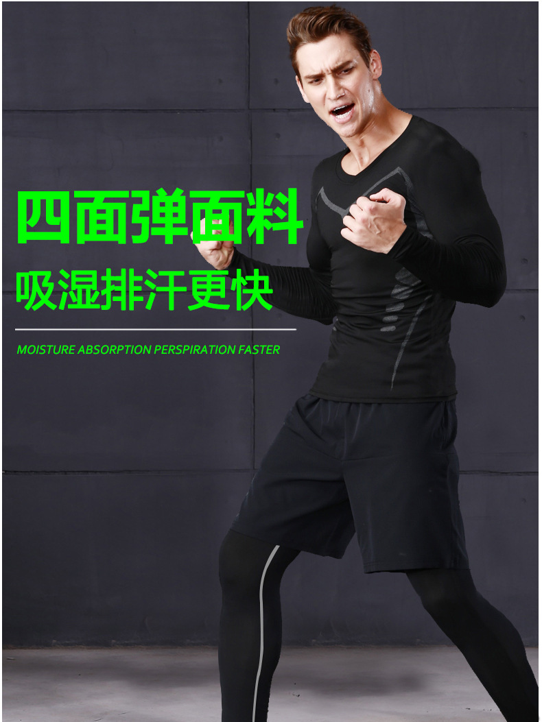 Foto one men from the right 5 pcs compressions clothes for gym. Men's 5 pcs compression tracksuit sports black color