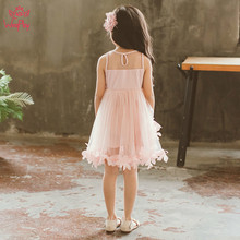 Girls Dress 2019 New Summer Flower Princess Dress Pink Wedding Party Little Girl Dresses Children Summer Clothes Baby Girl Dress arrival new 2017 princess summer baby girls black dress white polka dots children fashion dresses for little girl dresses