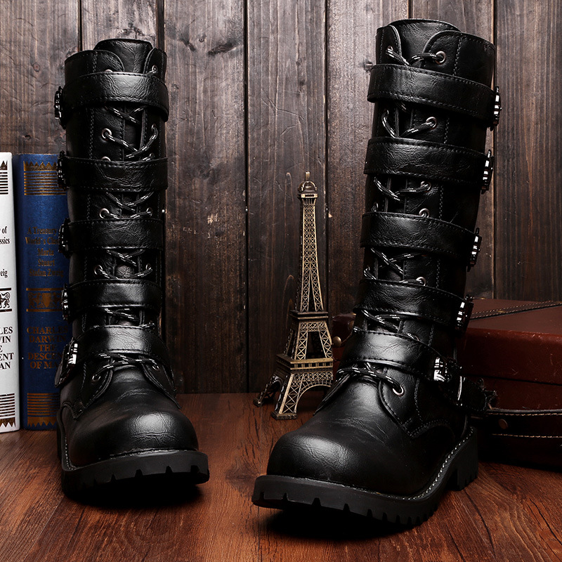 Men Fashion Motorcycle Shoes PU Leather Rock Mid-calf Buckle Motorbike Boots Punk Shoes Motorcycle Boots A378