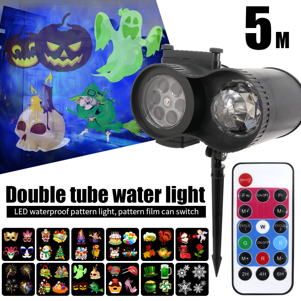 Double Cylinder Moving Snowflake Christmas Indoor Waterproof Animated Projection Lamp Landscape Lamp Projector Lights Beautiful