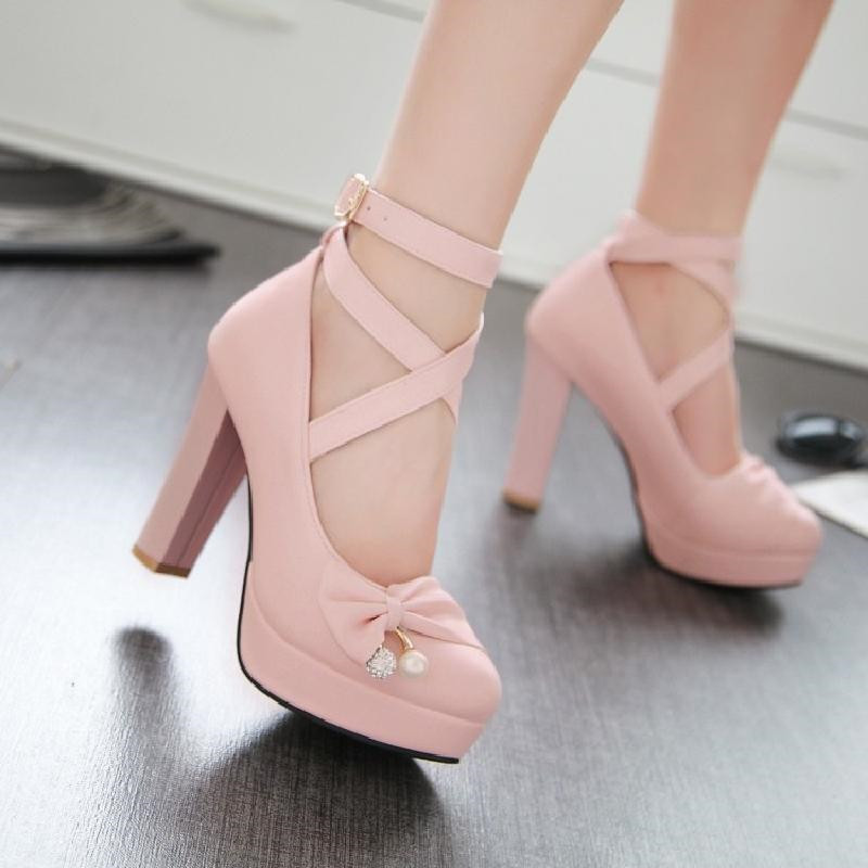 Girls' Leather Shoes Women's Large Sizes 32-43 Party Wedding Women's Shoes 2020 Woman High Heels Platform Pumps