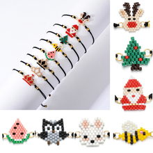 Diy Woven Rope Miyuki Seed Beads Bracelet Boho Santa Claus Elk Simple Handmade Friendship for Women Gifts