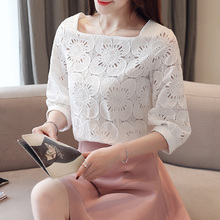 White Blusas Mujer de moda 2019 Autumn New Style Hollow-out Crochet Seven-Sleeve Blouse Lantern Sleeve Shirt Women Tops 669G6