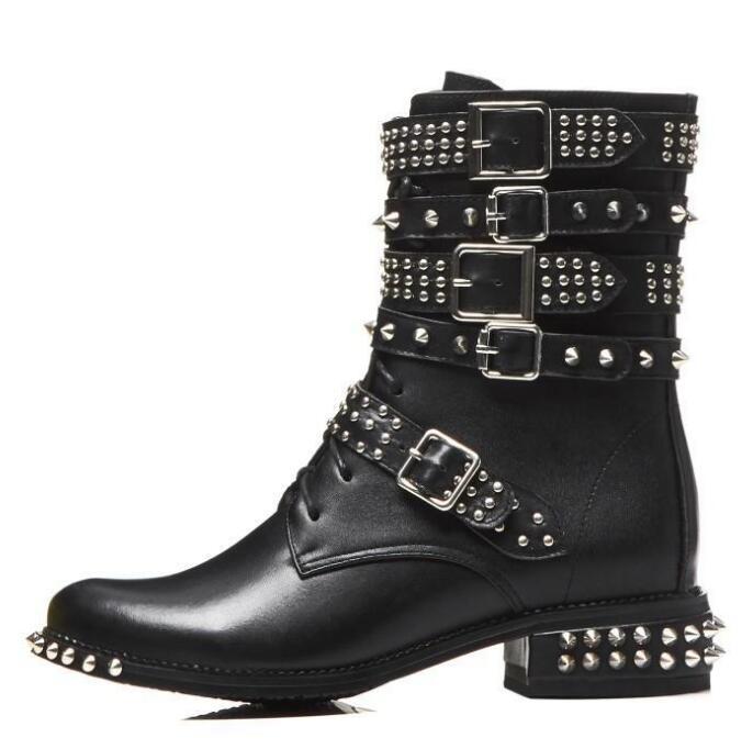 Botas de cuero tachonadas con remaches para motocicleta con hebilla de punta redonda para mujer botas al tobillo estilo punk botas de montar