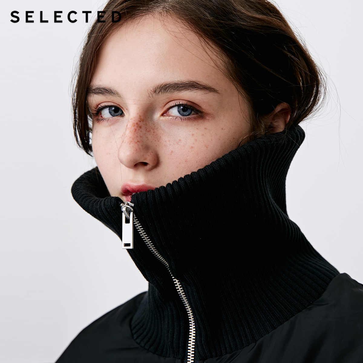 Отборный Зимний новый женский белый пуховик с утиным пухом, длинный вязаный воротник, повседневный пуховик S | 418412550