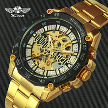 WINNER Official Brand Automatic Watch Men Hip Hop Iced Out Skeleton Watches Luxury Golden Full Steel Strap Mechanical Wristwatch все цены