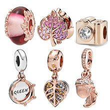 INBEAUT Rose Gold CZ Maple Leaf Heart Queen Charms Fit สร้อยข้อมือ PANDORA (China)