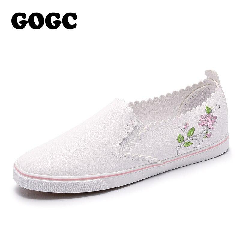 GOGC Vulcanized Shoes Slip On Ladies Leather Shoes Slipony Women Flower Flat Shoes Women Breathable Soft New Women Sneakers G976