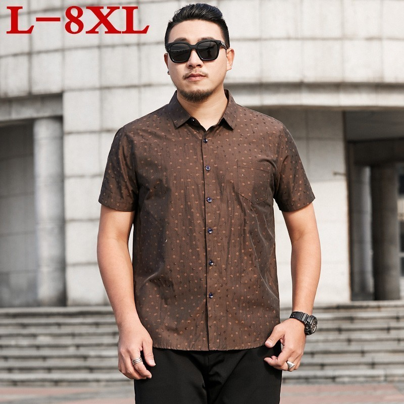 2020 New Plus Size 8xl 7xl 6xl 5xl New Men's Summer Shirts Printed Slim Fit Short Sleeve Shirts Male Casual Tops Plus Size