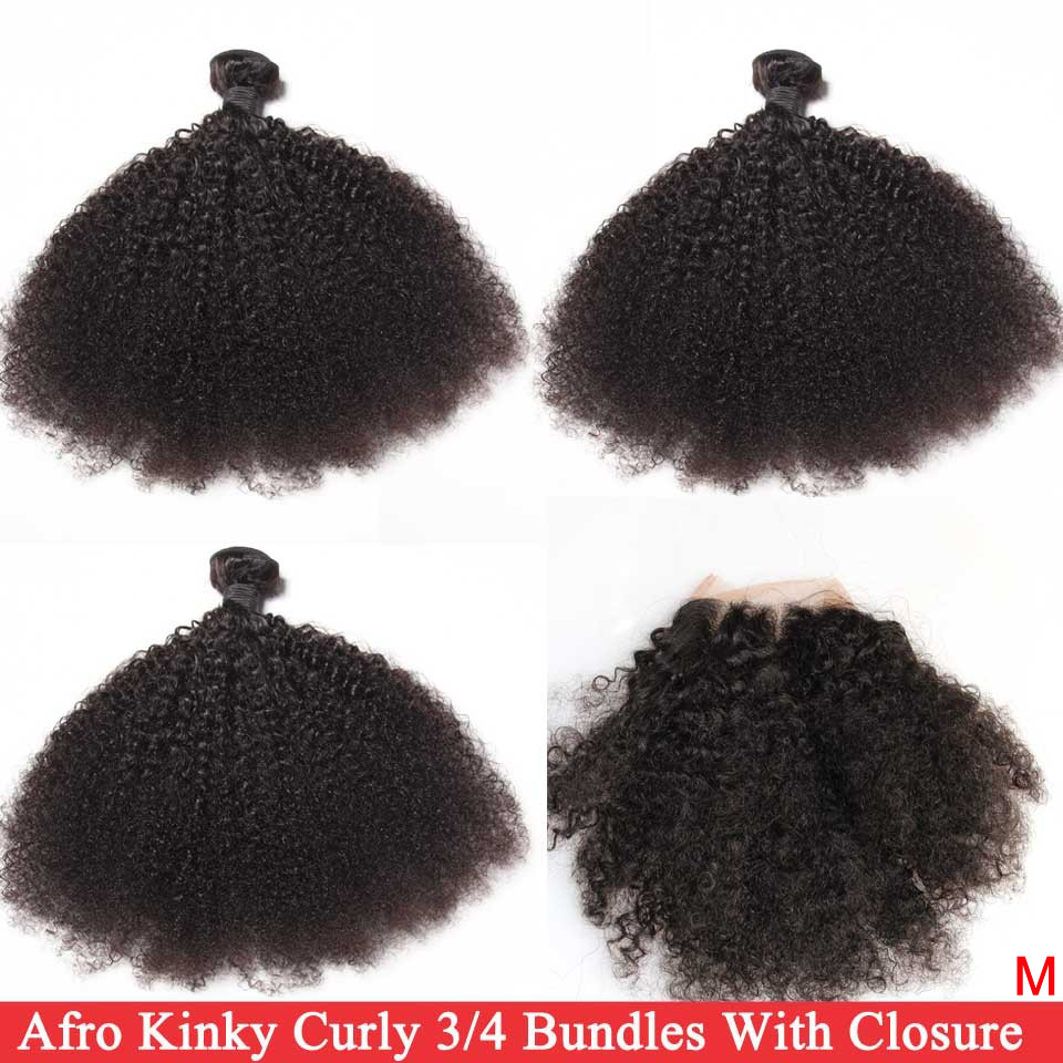 Afro Kinky Curly Hair Weave Bundles With Closure Brazilian 100% Human Hair 3/4 Bundles With 4x4 Closure Remy Hair Extensions