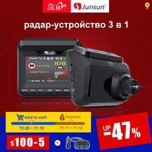 (11.11 code:1111VENTE3)Junsun L10 voiture DVR caméra 3 en 1 enregistreur vidéo GPS Full HD 2304 × 1296 P/1080 P détecteur Radar DashCam LDWS trépieds Antiradar
