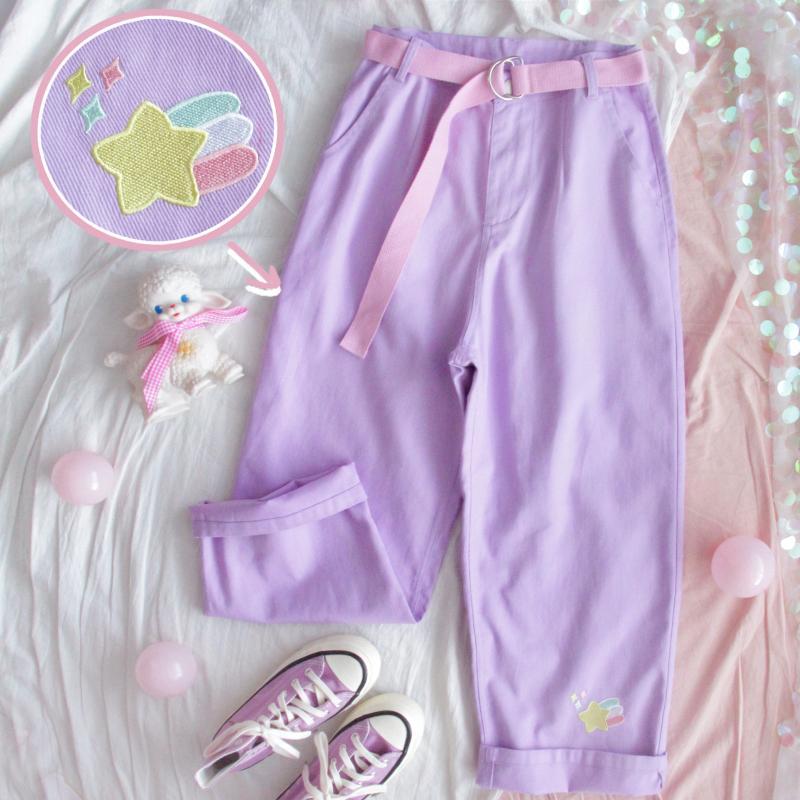 Sweet Cartoon Embroidery   Pants   Women Japanese High Waist Cute Casual Purple   Pants   Korean Kawaii Girls Bestie   Wide     Leg   Trousers
