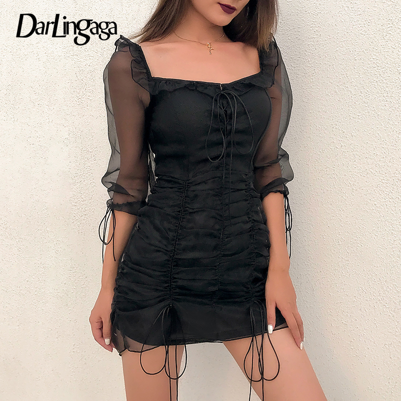 Darlingaga Square Neck Mesh Patchwork Black <font><b>Dress</b></font> Fashion Ruched Ruffles Lace Up Autumn <font><b>Dress</b></font> <font><b>Transparent</b></font> <font><b>Sexy</b></font> <font><b>Dresses</b></font> Women New image