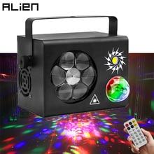 ALIEN 4IN1 RGB LED Gobo magiczna kula stroboskop 16 czerwony zielony Laser wzory projektor oświetlenie sceniczne DMX efekt Disco impreza z dj-em światła