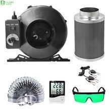 Beylsion kit completo de filtro de ar ativado, kit completo de 4/5/6/8 Polegada, centrífugo, para ventiladores verdes casa crescer tenda hidropônica