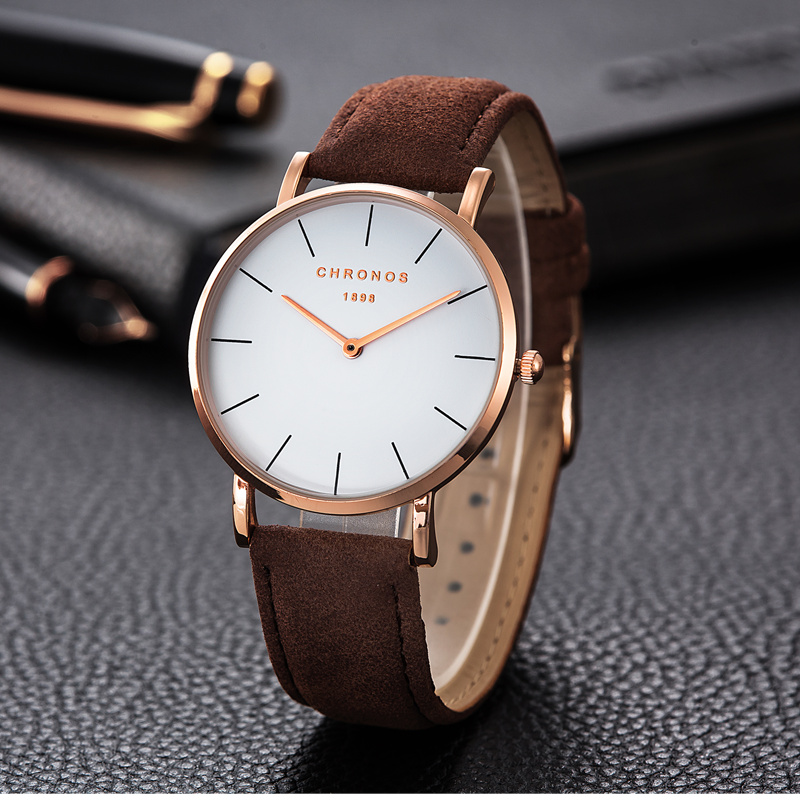 Chronos Brand Fashion Ladies Watch Simple Style Watches Leather Band Female Clock Quartz Wristwatches Relojes Para Mujer