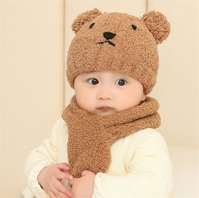 Kids Hat And Scarf Set Baby Winter Outdoor Warm Pur Cap Scarves 2 Piece Sets Cartoon Design Solid 2019 Baby Accessories