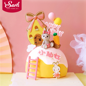 Bow House Toy trolley Rabbit Cake Toppers Happy Birthday Party Decorations for Kid Baby Shower Baking Love Gifts