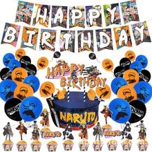 Naruto Birthday Party Tool Sasuke Sakura Sai Yama Props Straw Banner Cake parties Supplies Decoration Kakashi  Surprise Balloons