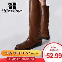 RIZABINA rozmiar 34-43 damskie buty do kolan prawdziwa skórzana platforma zimowe buty dla kobiety 2022 ciepłe futrzane długie buty biurowe Lady obuwie tanie tanio Płaskie z podstawowe GENUINE LEATHER Skóra bydlęca CN (pochodzenie) Zima Podręczne Stałe Adult Pluszowe okrągły nosek