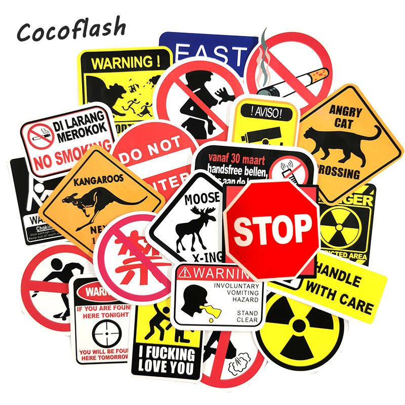 50 Pcs Warning Road Reminder Danger Banning Signs Stickers For Car Laptop Motorcycle Luggage Bicycle Snowboard Sticker Toy