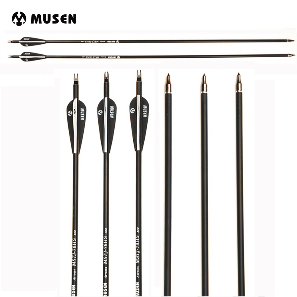 RU 28/30/32 Inches Mixed Carbon Arrow Spine 350/500 Diameter 7.8mm For Recurve Bow Archery Hunting Shooting