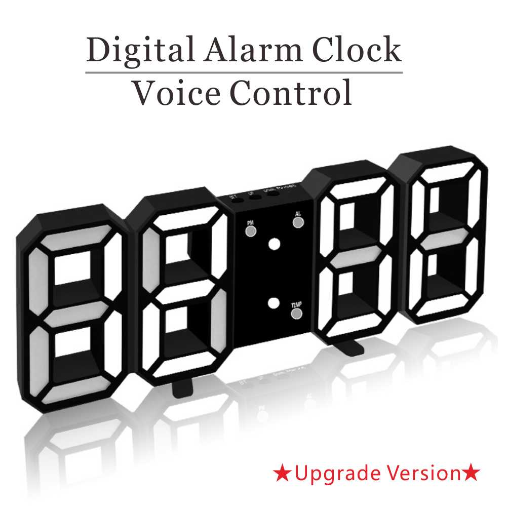3D LED Wall Clock Digital Clock Alarm Clock Table Clock Bedside Home Room Decoration Electronic Clock With Thermomet Night light