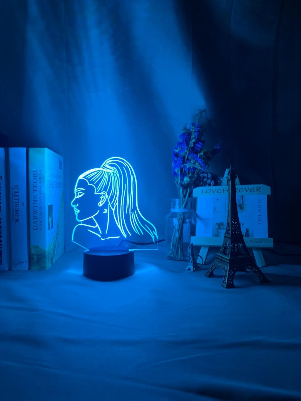 Hac1225b9d7fd467cbcd76552c7bd9ad4o Luminária Ariana Grande pop Luz noturna 3d, singer ariana, presente grande para ventiladores, decoração do quarto, luz led, sensor de toque, mudança de cor, lâmpada de mesa celebridade, celebridade