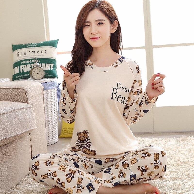 Pyjama Women Sleepwear Pajamas Cute Full Set Home Wear Female Long Sleeve Autumn Pijamas Leisure Long Sleeve Pajama Set