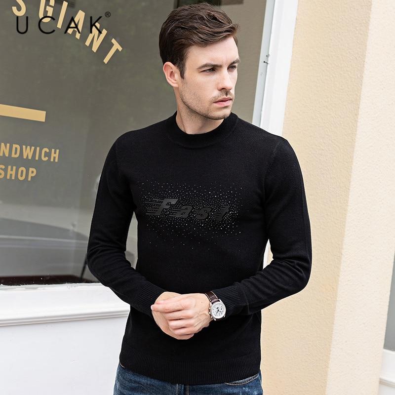 UCAK Brand Sweaters Men Pull Homme Pure Merino Wool Cashmere 2019 Casual O-Neck Letter Fashion Warm Winter Sweater Male U3089