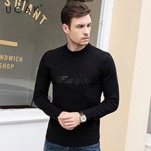UCAK Brand Sweaters Men Pull Homme Pure Merino Wool Cashmere 2019 Casual O-Neck Letter Fashion Warm Winter Sweater Male U3089
