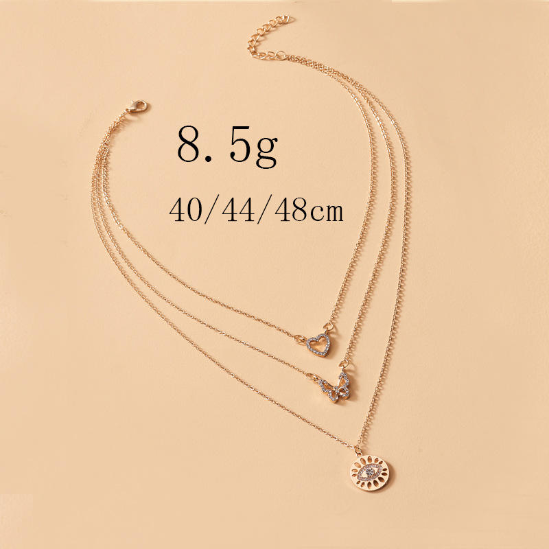 Fashion Three-layer Love Butterfly Necklace Demon Eye Crystal Necklace Female Red Wine Glass Pendant Necklace for Women Jewlery