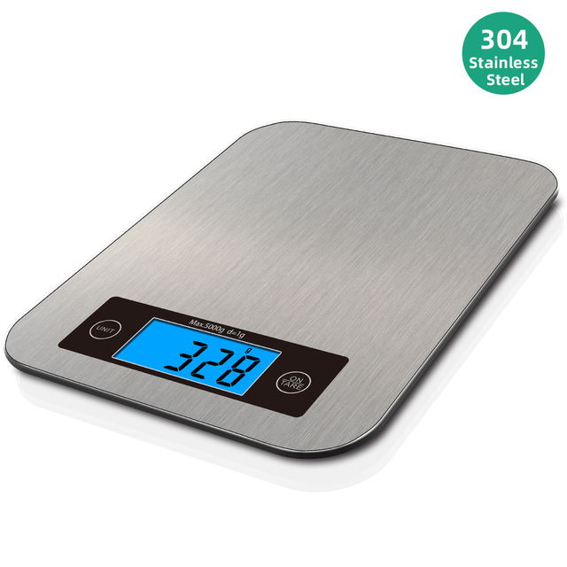 AIRMSEN 22LB/10KG אלקטרוני מטבח בקנה מידה מזון דיגיטלי נירוסטה ביתי במשקל בקנה מידה LCD מדידת כלים