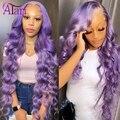 Парик из человеческих волос фиолетового цвета, парик блонд, парик на сетке 13x6, перуанские натуральные волосы, прозрачные парики на сетке, па...