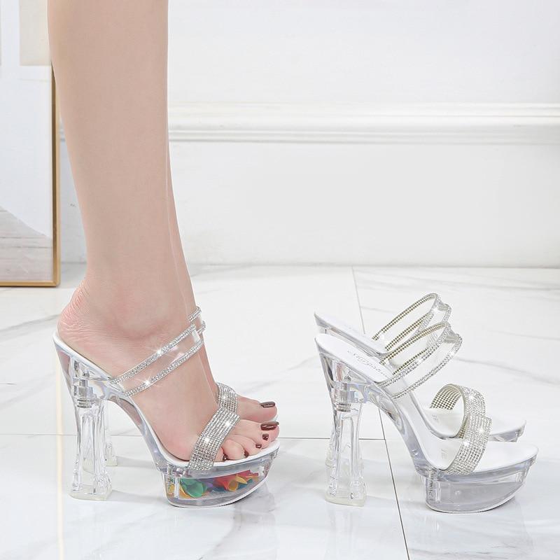 Summer Women 14CM Super High Heel Shoes Transparent Platform Catwalk Sexy High Heels Fashion Rhinestone Open Toe Party Pumps