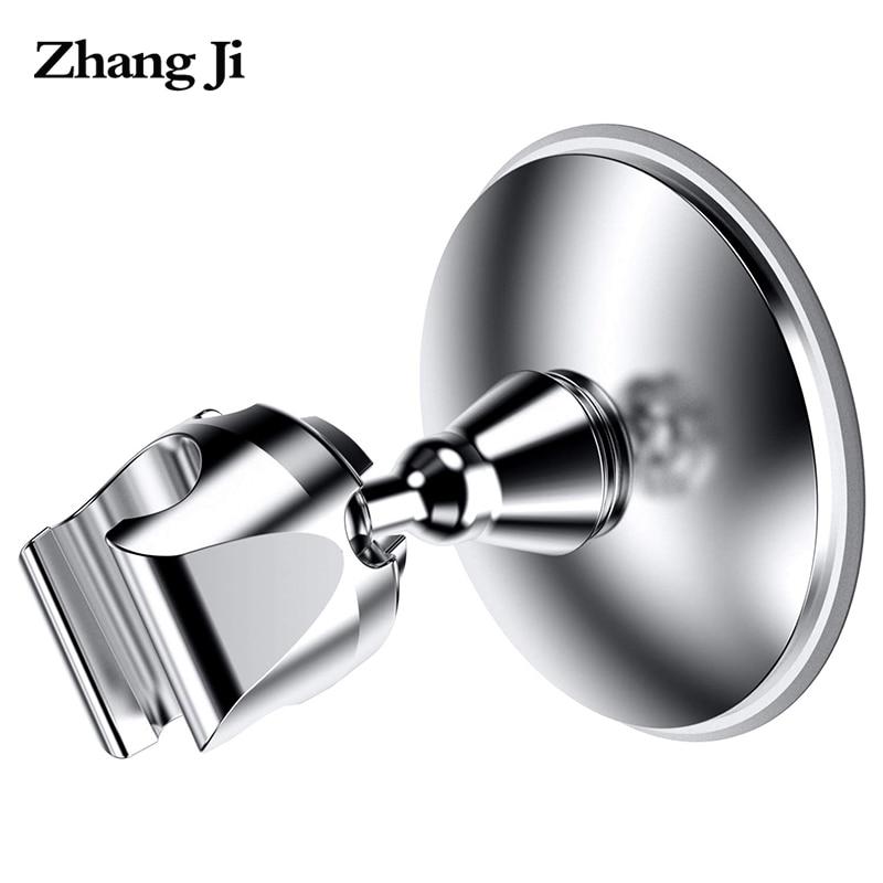 ZhangJi Elegant Design Plastic Bathroom Shower Head Holder Chromeplate Abs Suction Cup No Drill Shower Holder Shower Bracket