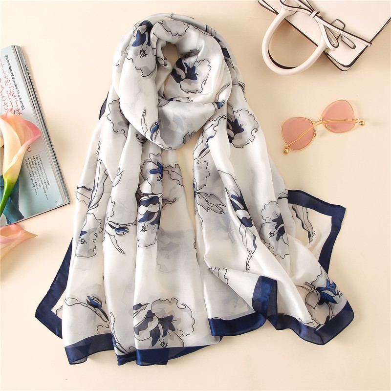 Elegant Shawls and Wraps Women Neck <font><b>Scarf</b></font> Fashion Floral Print <font><b>Silk</b></font> Head Scarfs Female <font><b>180*90cm</b></font> Long <font><b>Scarves</b></font> For Ladies Dropship image