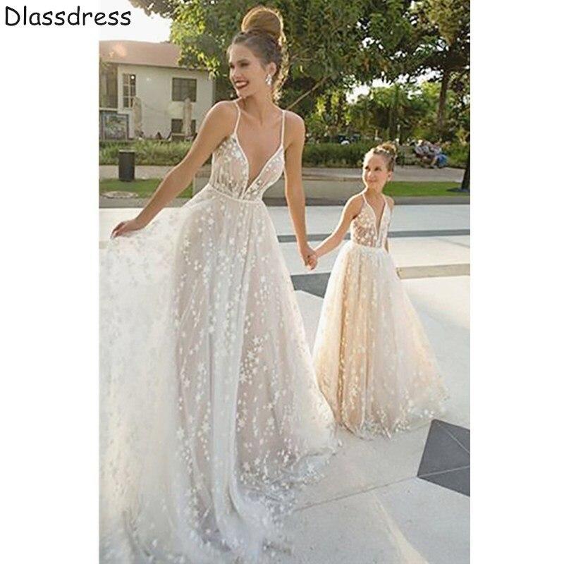 2020 Lace Mother And Daughter Dress For Wedding Ivory Simple A-line V-neck Spaghetti Strap Evening Dress платья знаменитостей