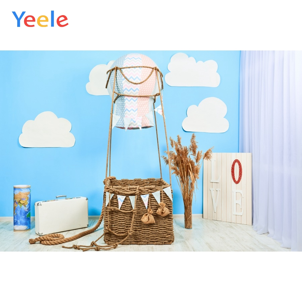 Blue Room Baby Toys Bear Hot Air Balloon Birthday Carpet Suitcase Interior Photo Background Photo Backdrop Photcall Photo Studio
