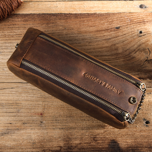 Image 2 - Genuine Leather Zipper Pen Pencil Case Bag Handmade Vintage Retro Creative Standable School Stationary Pen Pouch Large Capacity