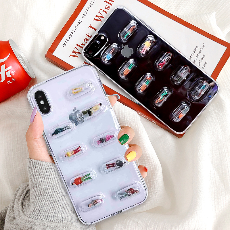 KSTUCNE Transparent 3D Pill Capsule Phone Case For iPhone XS MAX 8 7 6 6S Plus X Cartoon Character Soft Clear TPU Back Cover in Fitted Cases from Cellphones Telecommunications