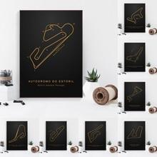 Beroemde F1 Race Track Moskou Spanje Frankrijk Raceway Poster Canvas Art Print Home Decor