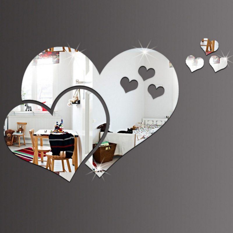 Mirror Self-adhesive Stickers Square Mirror Sticker Crystal Wall Paper DIY 3D Wall Decal Living Room Bathroom Decoration