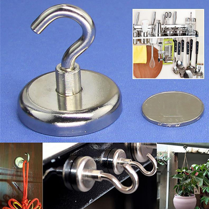 Magnetic Hooks Powerful Heavy Surfaces Sale Magnet Not Scratch Refrigerator Duty Neodymium 4pcs