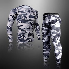 Quick Dry Camouflage Men's Running Sets Compression Sports Suits Skinny Tights Clothes Gym Rashguard Fitness Sportswear Men 2021