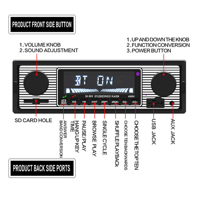 Bluetooth ラジオ MP3 音楽プレーヤー USB 補助カーステレオオーディオ FM 液晶表示画面 TD326