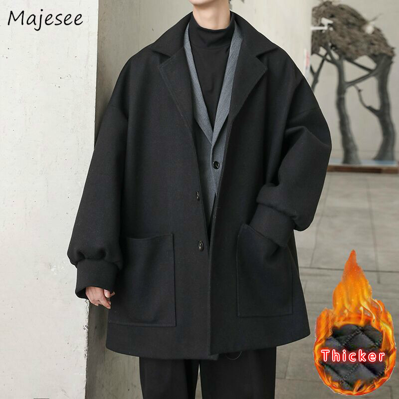 Woolen Coat Men Clothes Plus Size Winter Casual Long Wool Mens Korean Style Students Loose Thickening Outwear High-end Overcoat