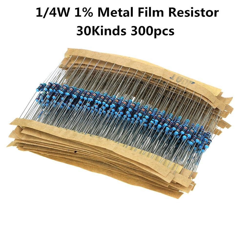 300 pçs/lote 1/4w kit resistor filme de metal 1% resistor sortido kit conjunto 10 -1m ohm resistência pacote 30 valores cada 10 peças