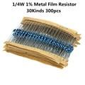 Комплект металлических пленочных резисторов 300 шт./лот 1/4 Вт, набор резисторов 1%, набор в ассортименте, 10 -1 м ом, комплект сопротивления, 30 зна...
