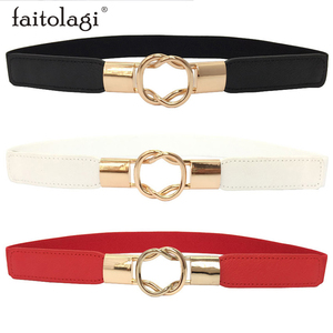 Elastic Black Belts For Women PU Leather White Ladies Dress Belt Fashion Thin Female Waist Belt With Metal Buckle pasek damski